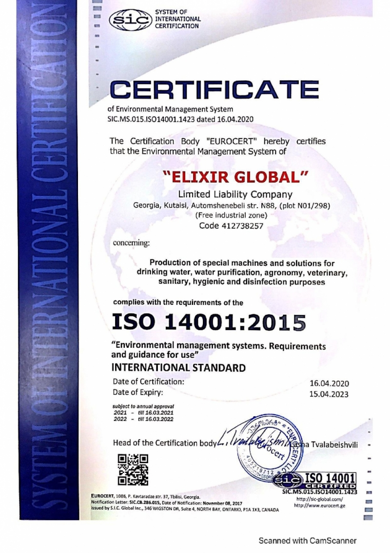ISO 14001:2015 Environmental management certificate