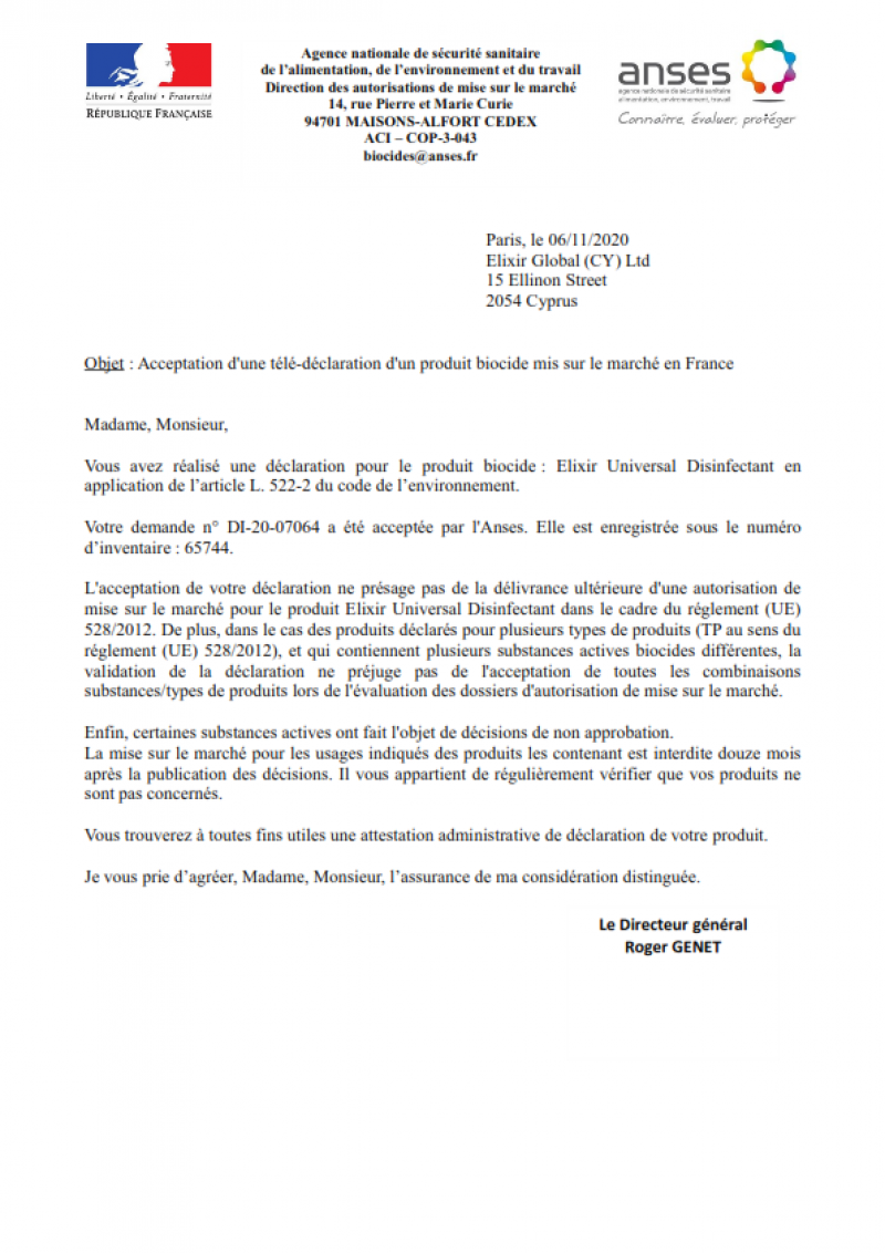 French Product Registration Certificate for Elixir Universal Disinfectant