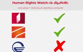 "Human Rights Watch-ის ანგარიში ""იმედმა"" არ გააშუქა"
