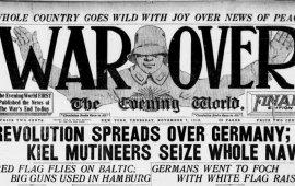"""2018 წელს პირველი მსოფლიო ომის დასრულების 100 წლისთავი აღინიშნება. 1914 წლის ივლისში დაწყებული ომი 1918 წლის 11 ნოემბერს, გერმანიის დანებებისა და დაპირისპირებულ მხარეებს შორის ზავის დადების შემდეგ დასრულდა. კაცობრიობის ისტორიაში ერთ-ერთი ყველაზე სასტიკი და სისხლიანი ომის დასრულება, იმდროინდელი გამოცემების მთავარი თემა იყო.   The New York Times:  """"შეთანხმება ხელმოწერილია, ომის დასასრული! ბერლინი რევოლუციონერების ხელშია. ახალი კანცლერი წესრიგს ითხოვს. განდევნილი იმპერატორი კი ჰოლანდიას აფარებს თავს""""      Los Angeles Times  """"მშვიდობა - მსოფლიო ომი დასრულებულია, გერმანიამ დაზავების ხელშეკრულებას მოაწერა ხელი""""       The Daily mirror  """"დემოკრატიის ტრიუმფი უკანასკნელ ავტოკრატებზე""""      The Daily Telegram  """"მსოფლიო ომი დამთავრებულია.დამარცხებული გერმანია ზავის პირობებზე თანხმდება და საბრძოლო მოქმედებები ყველა ფრონტზე წყდება""""         The Detroit Free Press  """"ზავი ომს ასრულებს.მტრის არმია და საზღვაო ძალები ნებდებიან. საომარი მოქმედებები დღეს დილით, 6 საათზე შეწყდა""""       Chicago Daily Tribune """"დიდი ომი დასრულებულია""""     The Evening world  """"ომი დამთავრებიულია!რევოლუციამ მთელი გერმანია მოიცვა. კიელის მებრძოლებმა მთელი საზღვაო არმია დაიპყრეს""""     The Seattle Stars """"მშვიდობა. დიდი მსოფლიო ომი დასრულებულია""""     The Evening Standard  """"ომის დასასრული. გერმანია ხელს აწერს ჩვენს პირობებს.ბრძოლა დღეს 11 საათზე შეწყდა""""     Vancouver Daily Sun  """"მშვიდობა! გერმანია ნებდება, მოკავშირეების ვინაობა უკვე ოფიციალურად ცნობილია"""""""