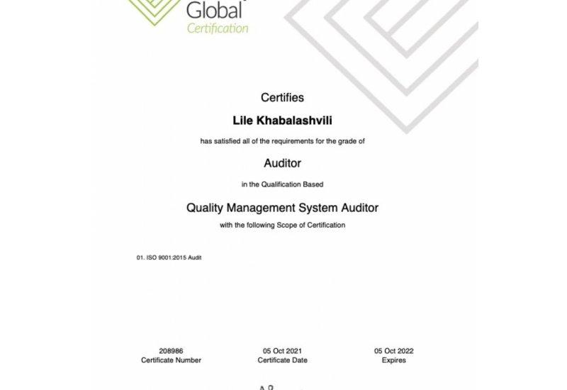 სერტიფიცირებული აუდიტორი ხარისხის მენეჯმენტის სისტემებში ISO 9001:2015